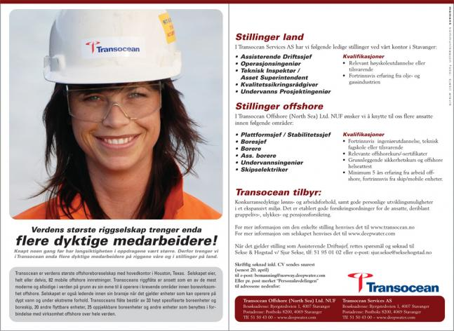 Stillingsannonser for Transocean